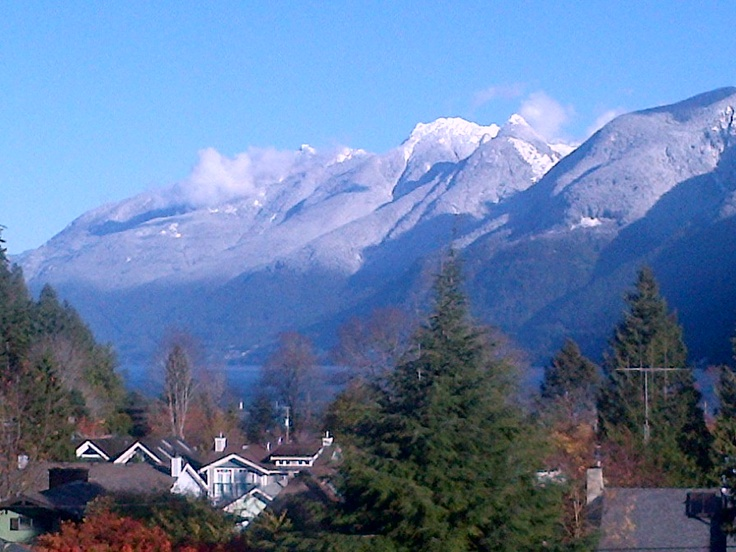 View from the deck, Horseshoe Bay - up Howe Sound - icing sugar coated
