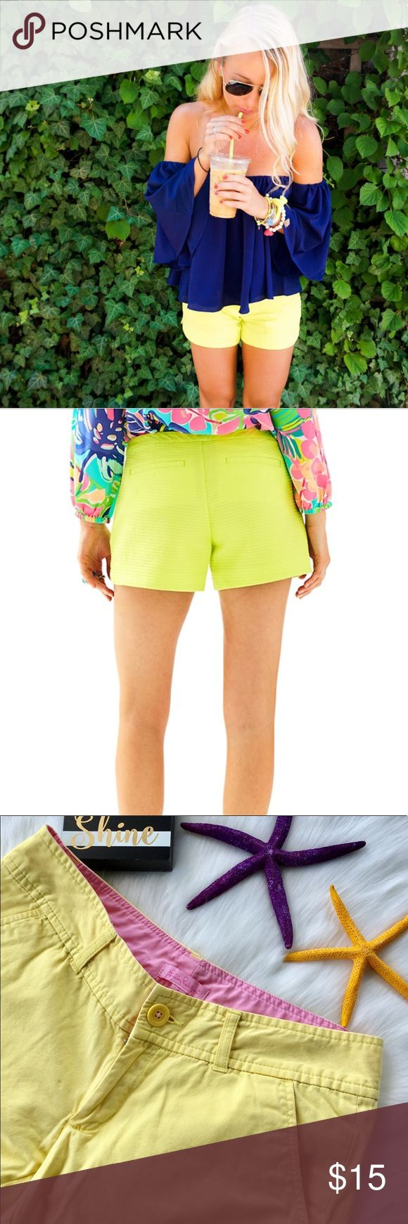 Lilly Pulitzer Yellow Shorts Size 2 Lilly Pulitzer Yellow Shorts will be your new favorite short to pair with your tops, tanks and tees. Women's Size 2 These pre loved shorts have slant pockets, belt loops and a front button and zipper to complete them.   Machine Wash Cold. Separately. 4 inch inseam Lilly Pulitzer Shorts