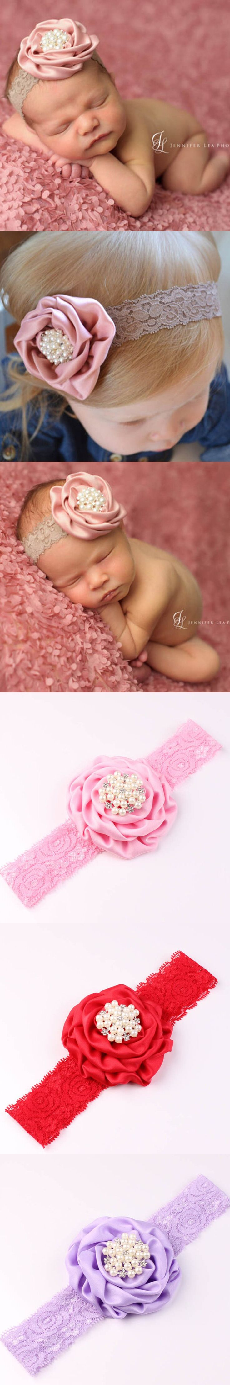 New Hot Fashion Lace Headbands Rose Flower Crystal Rhinestone Baby Hair Accessories Baby Girl Children Hair Bands Baby Headband