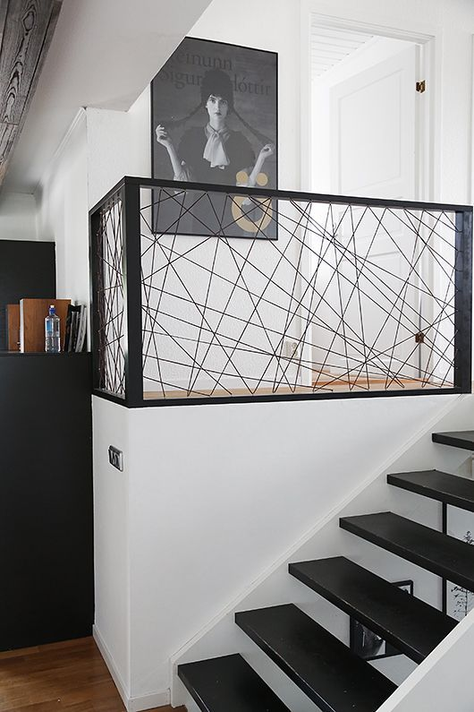 DIY idea with leather trimming. Perfect for staircase or room dividers. Picture from trendenser.se