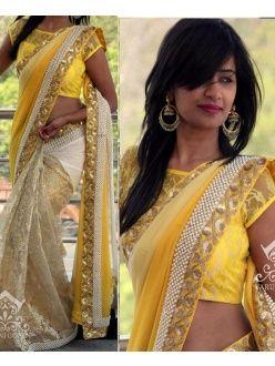 Winsome Yellow Georgette, Net Designer Saree