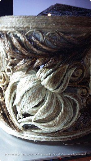 Поделка изделие Моделирование конструирование круглая шкатулка из джута хризантемы-2 фото 2