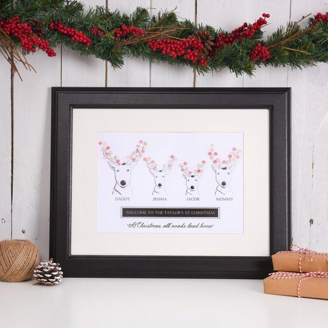 Personalised Reindeer Family Print.