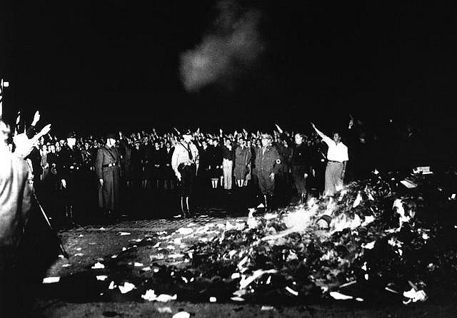 Nazi book burning by slagheap, via Flickr