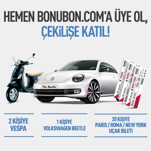 Beetle, Vespa, New York, Paris ve Roma uçak biletlerinden birini kazanmak için Bonubon çekilişine başvurun derim#ad