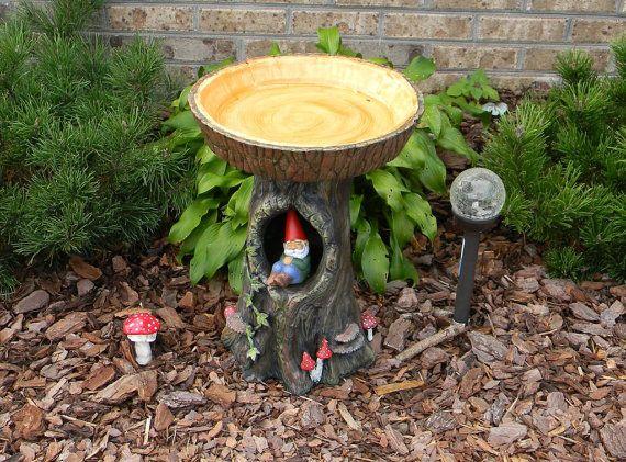 Tree Stump Bird Bath & Toad house custom by EnchantdMushroomLand