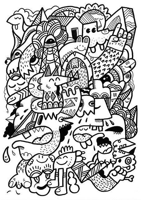 "https://flic.kr/p/7wzEmK | Filmy | Rough doodle I made to show my doodling process - <a href=""http://www.flickr.com/photos/uberkraaft/4283924683/"">view film here</a>  Posca 0n A3 bristol board"