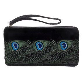 Peacock Feather Embroidered Wristlet / The Met Store / based on stylized peacock feathers depicted in a color pochoir (stencil) print in Combinaisons Ornementales, published about 1901 in Paris