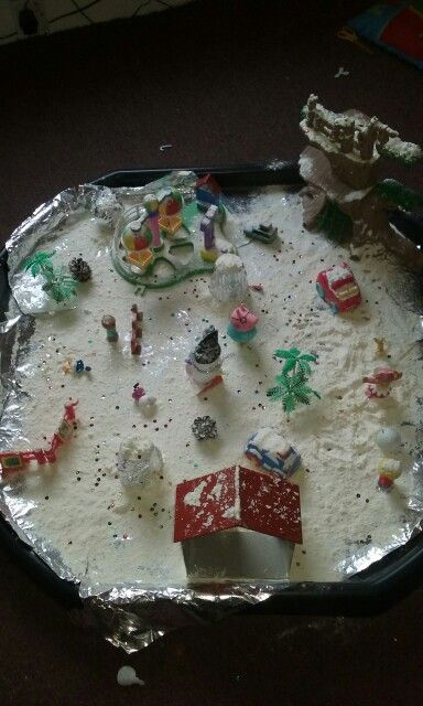 Winter tuff tray flour glitter and foil with small world