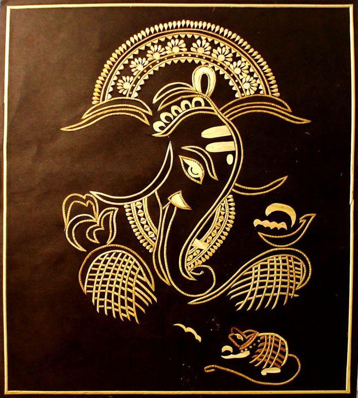 Rj Wall Decor God Ganesha Sikki Grass Art Paintings