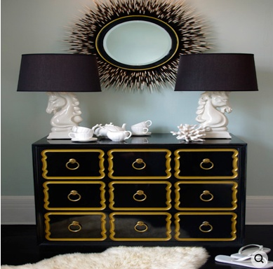 black and gold DIY?: Black Dressers, Black And White, Black White, White Bedrooms, Black Gold, Gold Accent, Hollywood Regency, White Gold, Dorothy Draper