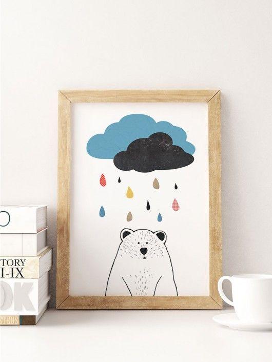 dodatki - plakaty, ilustracje, obrazy - grafika-Miś pod chmurką - A3 - plakat dla dzieci