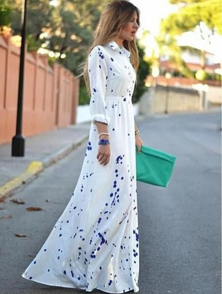 Collar dress should be very temperament. This is a long dress with long sleeves and a lot of your temperament. Printing can make this dress very attractive. Make the first choice for the party.