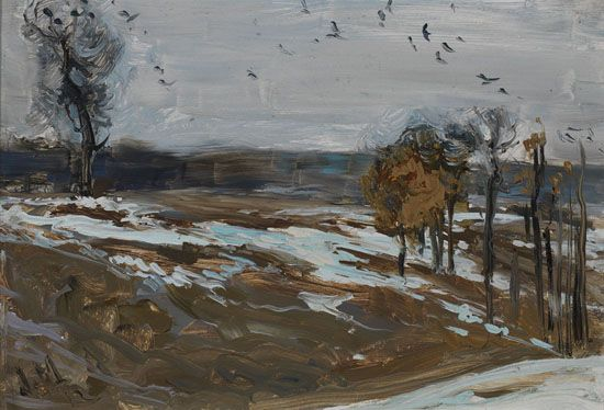 J.E.H. MacDonald - March Day with Crows 6.25 x 9.5 Oil on board (1912) sold for $11000 at Heffel online auction October 2016