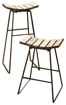 Metal Counter Stool with Wood Slat Seat - industrial - bar stools and counter stools - Oilfield Slang $206