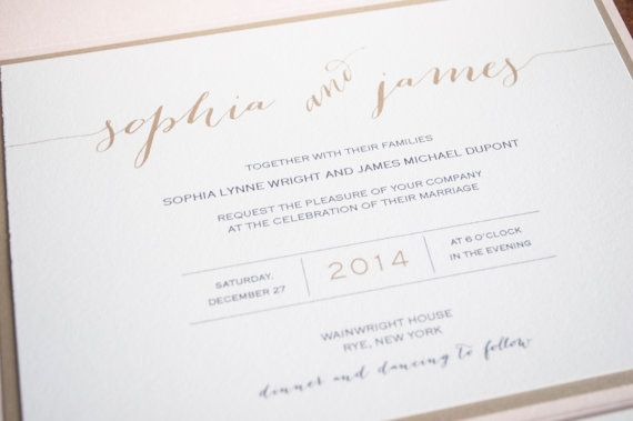 Our signature Sophia pocketfold wedding invitation suite ivory and gold cardstock with a peachy pink pearlescent pocketcard; gold and black
