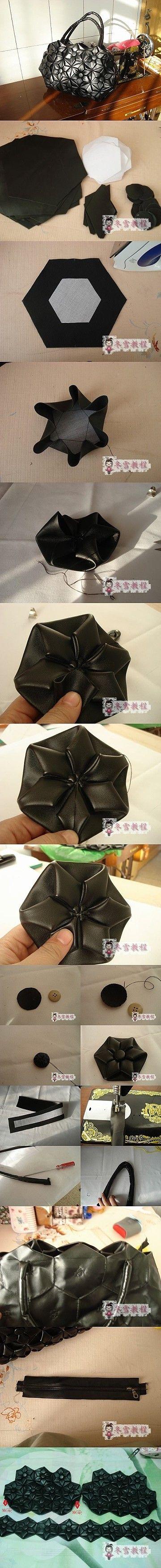 Fold origami patchwork bag
