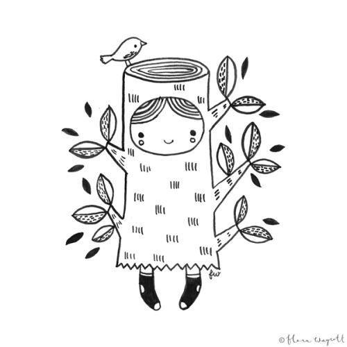 Flora Waycott - Inktober Day 19 - I am spending today in my tree stump outfit! xx
