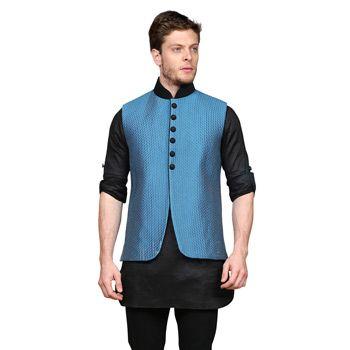 Black Art Silk Readymade Kurta with Aligarh Pajama cum Nehru Jacket