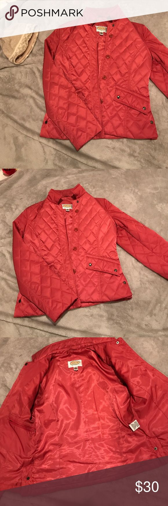 Red Talbots Petite coat EUC jacket Talbots Petites quilted and with multiple pockets Talbots Jackets & Coats