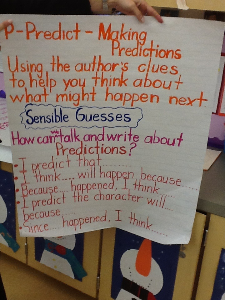 The first graders are learning to make predictions when they read.
