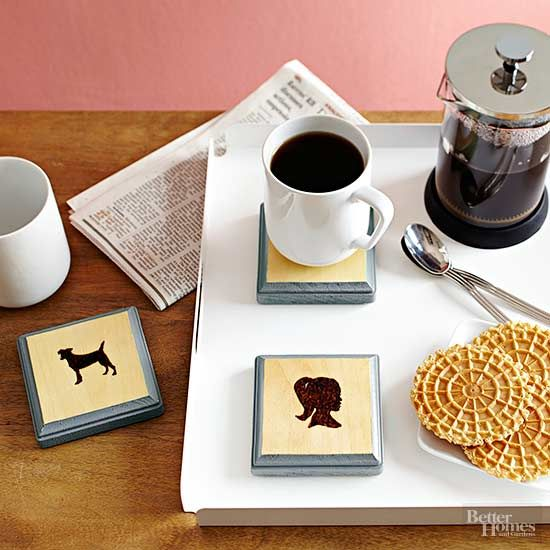 Cute Christmas gift ideas that are customizable always win, and that's why we love these chic coasters that feature silhouette profiles. Print…