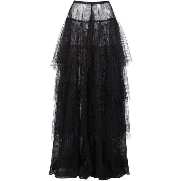 Black Tulle Skirt   Moda Operandi (€1.488) ❤ liked on Polyvore featuring skirts, tulle skirts, a line tulle skirt, high-waist skirt, high-waisted skirts and high rise skirt