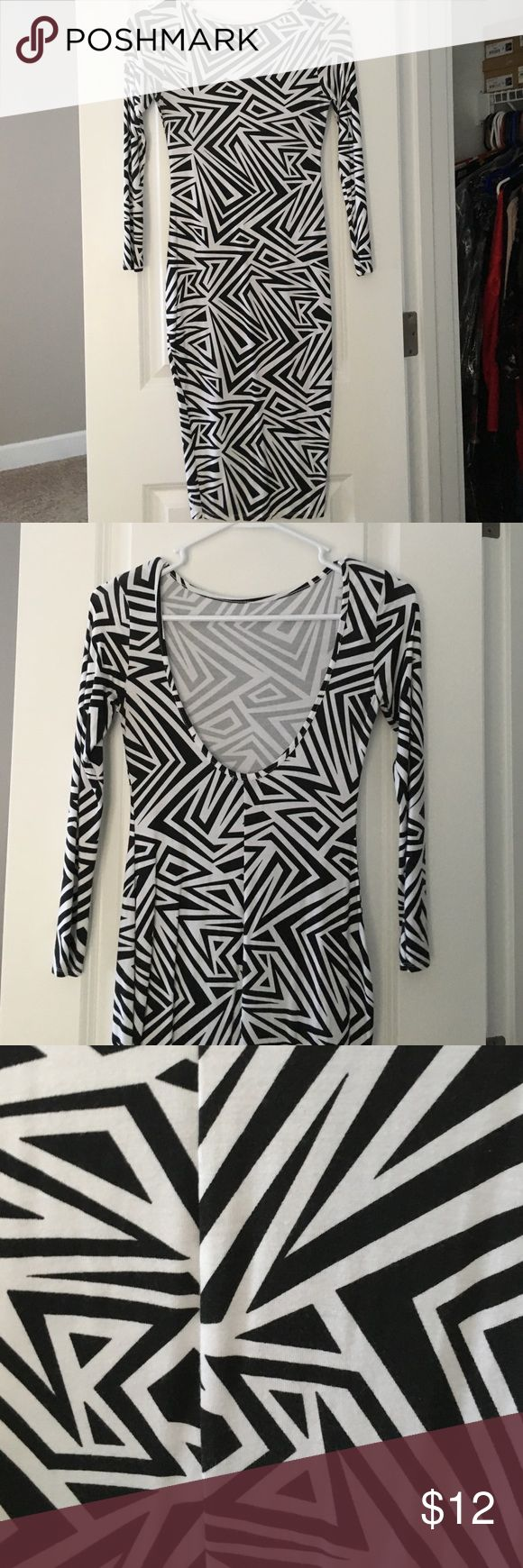 Black and white pencil dress Black and white zig-zag dress. 3/4 sleeves. Low back. Midi ASOS Dresses Midi