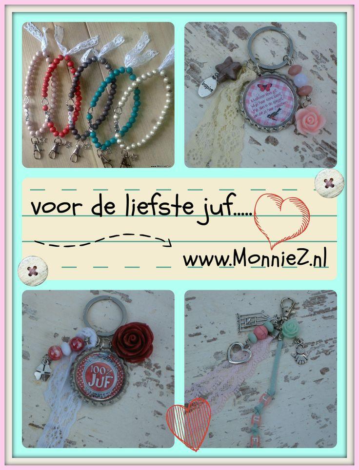 Voor de liefste juf... Veel leuke kleinigheidjes voor juffendag of laatste schooldag....www.MonnieZ.nl