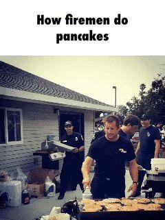 How firemen do pancakes GIF