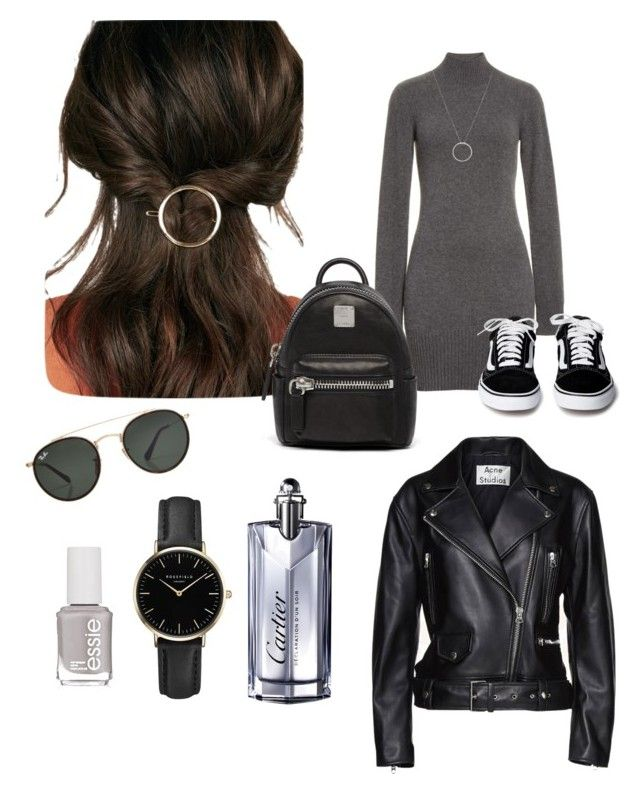 """""""Street Style"""" by matinapapadopoulou on Polyvore featuring JustFab, Essie, Frame, Ray-Ban, MCM, Acne Studios, Roberto Coin, ROSEFIELD and Cartier"""
