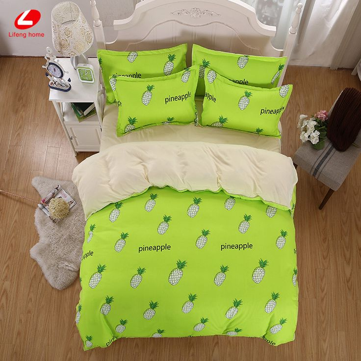 home hacks Home textile Summer Fruit bedding set Pineapple duvet cover green bed linen set watermolen flat sheet set queen bed set banana -*- AliExpress Affiliate's buyable pin. Click the image to view the details on www.aliexpress.com
