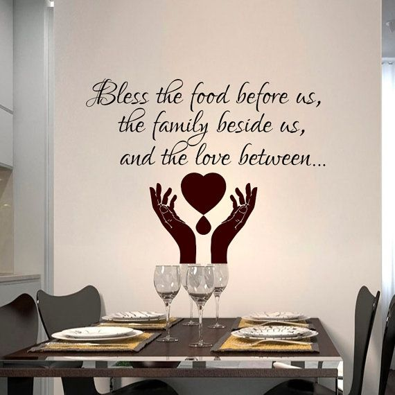 Wall decals quote prayer bless the food before decal vinyl sticker hand heart bedroom kitchen home decor dorm hall room art murals