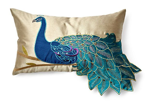 I hate birds and yet continue to fall in love with bird pillows....guess I like them stuffed!!!  Peacock 12x20 Pillow, Teal on OneKingsLane.com