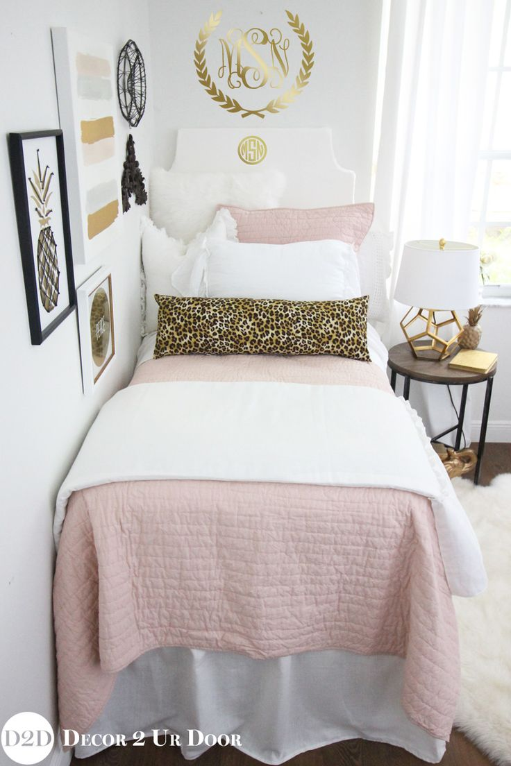 Blush Pink & Cheetah Print Designer Dorm Bedding Set