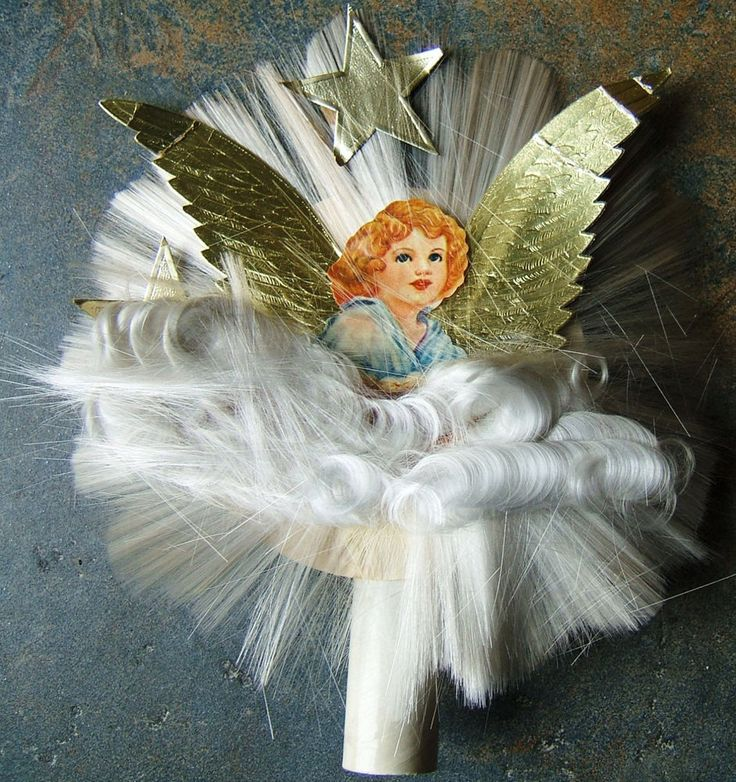 Holy Family With Angel Hair Glass Ornament: Vintage Angel Tree Topper Gold Wings Spun Glass Angel Hair