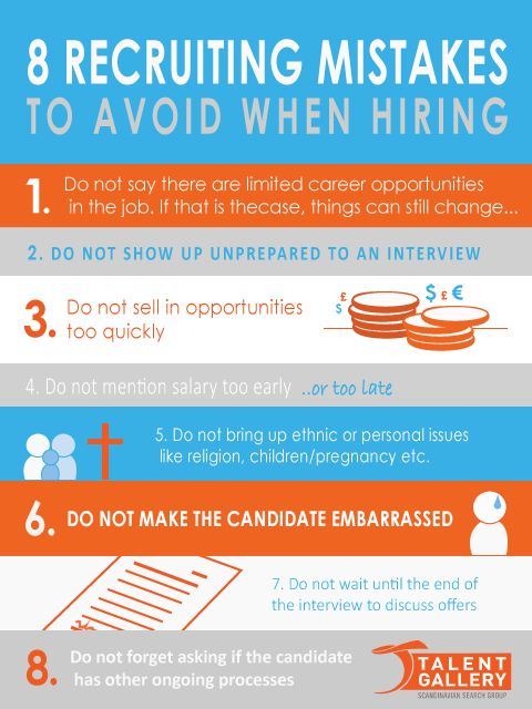 8 recruiting mistakes one should avoid when hiring. #recruiting #hr #recruitment #headhunting #executivesearch #selection #tips #hiring #mistakes #international #global #nordic