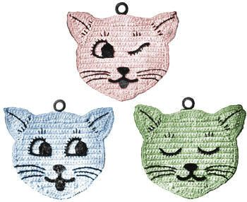 Cats Kittens Trivets or Potholders Vintage Crochet Pattern for download - Wynkin Blynken & Nod