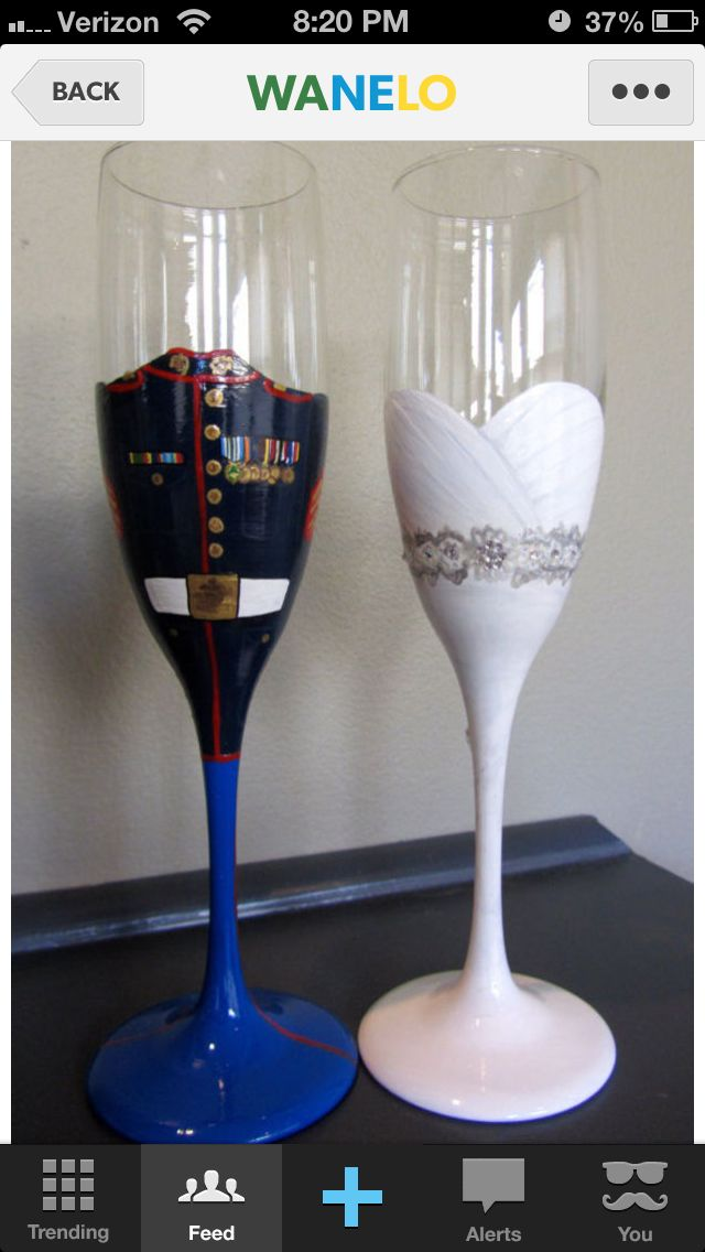 His and her wedding glasses. Marine wedding theme. LOVE it for you guys!