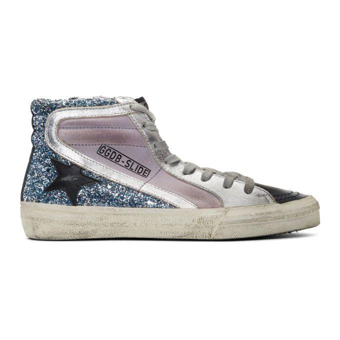 Blue Glitter Slide High-top Sneakers