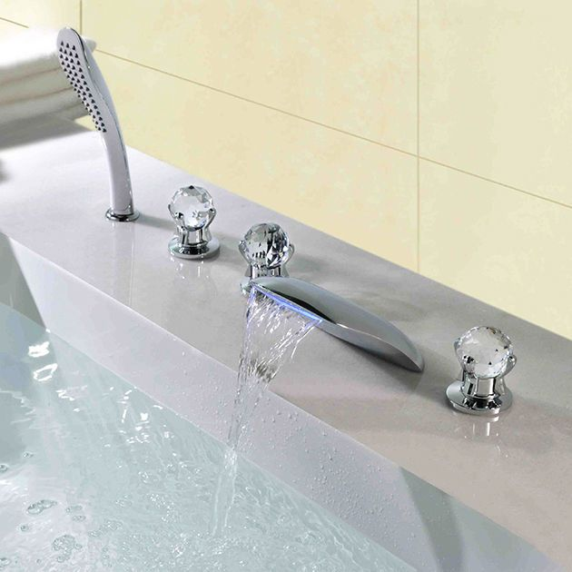 led bathtub filler waterfall faucet set with handheld crytal handle brass chrome