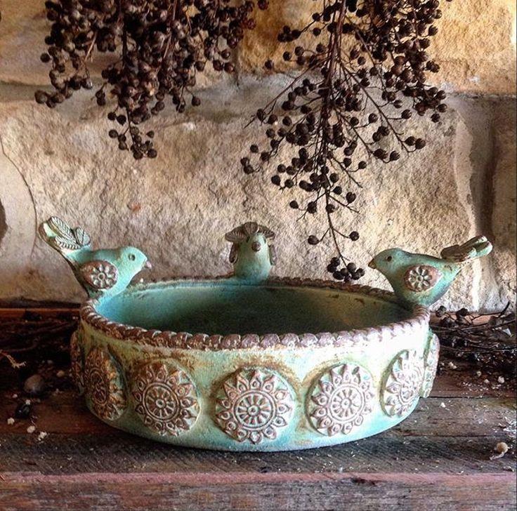 Copper green birdbath made by Barakee Pottery