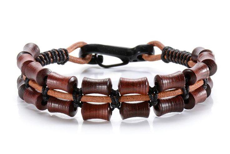 Wooden Beads Leather Bracelet for Men
