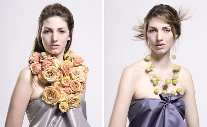 Jewellery Designer Tiffany Rowe - necklaces made of roses and grapes