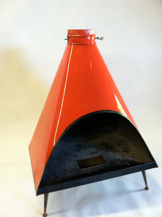 Red Lacquer MidCentury Outdoor Fireplace by TransitSpace on Etsy, $500.00