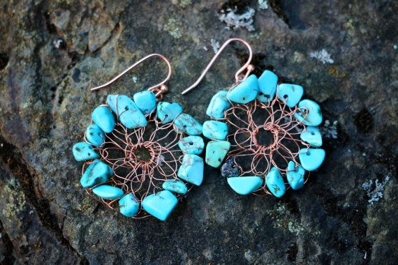 Boho Turquoise Copper Wire Mesh Earrings by nZuriArtDesigns