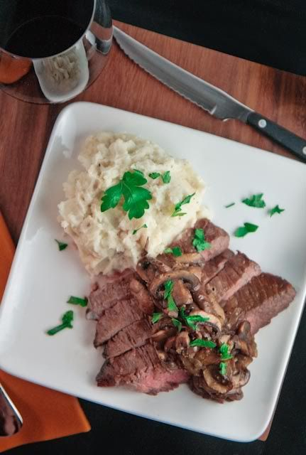 Grilled Flank Steak Topped With Pan Seared Mushrooms (adapted from the ...
