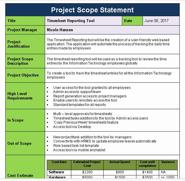 Project Scope Statement Template In 2020 Letter Template Word