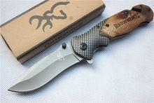 Browning X50 Tactische Vouwen Zakmes Staal Blade Houten Handvat Titanium Survival Messen Huntting Vissen EDC Tool Met doos(China (Mainland))