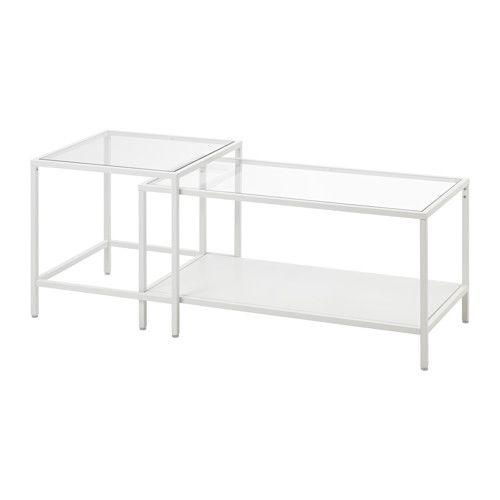 VITTSJÖ ネストテーブル2点セット - ホワイト/ガラス - IKEA